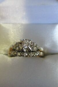 14K Gold and Diamond Engagement and Wedding Ring Size 7.5