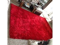 Next Red Fluffy Rugs x2 Small and Large