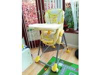 High Chair - Sitting or Inclined & Safety Straps - Baby or Infant - Excellent Condition -