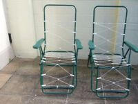 two reclining garden lounger chairs ( no cushions ) £8 the pair - southbourne