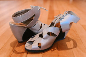 Cute Champagne Coloured Wedge Sandals for Summer! New $40