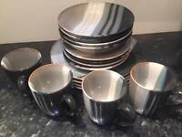 Artisan blue/beige stoneware crockery set