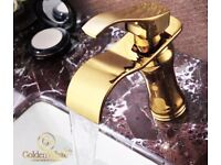 Gold waterfall tap and swivel waste - Brand new