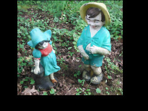 Large Vintage Concrete Garden Statues Naughty Boy & Girl