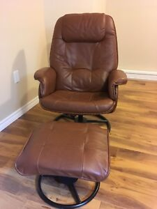 Leather Reclining Chair with Footstool SOLD PPU