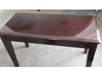 Polished Piano Duet Stool Cherry Red Brown with cover