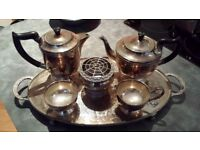 Vintage alpha plate viners of Sheffield England chased tea set