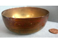 antique etched brass bowl