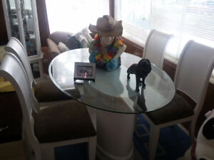 Oval Glass Table with Four Chairs