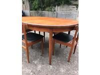 Mid century G Plan oval table and four teak chairs (chairs need a little tlc)