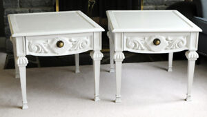 Pair of Large Ornate White End Tables