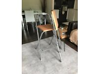 Light Wood and Chrome Bar Stools x 2