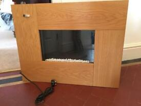 Wooden wall mounted electric fire