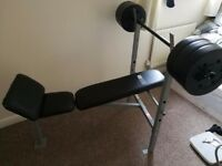 Weight bench and bar ,30kg of weights