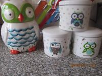 Owl Cookie Jar and Bone China Owl Canisters