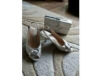 Clarks satin finish shoes and handbag