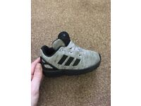 Worn once; kids Adidas trainers in a size 5K