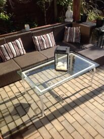 Attractive glass topped metal occasional table,patio,conservatory