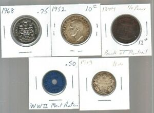 Old Canadian coins and meat ration tokens