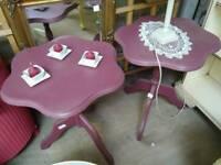 2 purple coffee tables