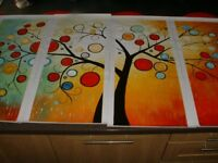 Modern Abstract Tree art painting. (4 panels without frames)