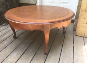 Antique Leather Top Round Coffee Table