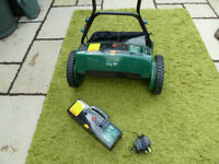 COOPERS CORDLESS CYLINDER MOWER ALMOST NEW - WIFE COULDN'T GET ON WITH IT SO BOUGHT ROTARY ONE.