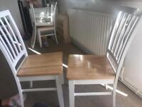 4 white and oak effect dining chairs