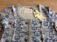 Blend clothing ladies cropped cardigan grey with blue motifs sizes small, medium and large available