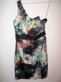 LIPSY Multicolour Off One Shoulder Evening Party Wedding Dress 10UK - NEW