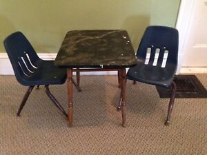 Vintage Wooden Children's Table With Two Retro Chairs