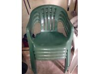 PLASTIC GREEN GARDEN CHAIRS outdoor WEATHER PROOF good condition PLASTIC green