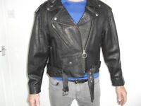 UNISEX VINTAGE BLACK LEATHER BIKER JACKET SIZE S/M - EXCELLENT CONDITION