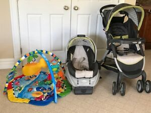 Graco stroller, Car seat, base and Playmat