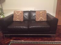 Brown Leather 2-Seater Sofa in v good condition
