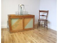 Vintage Military Storage Trunk / Coffee Table / Wooden Chest