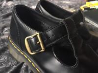 Black Leather Buckled Dr Martens , Size 9