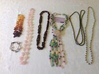 Rose quartz,amber,garnet pearl, Gemstone necklaces (6&bracelet)