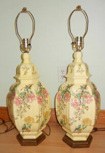 """PAIR OF VINTAGE HANDPAINTED TABLE LAMPS - COLORFUL - 31"""""""