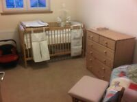 Nursery Furniture Cot Bed & Matching Chest of Drawers
