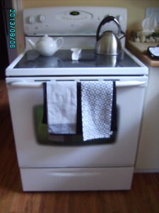 Glass top stove 30 inch self cleaning white