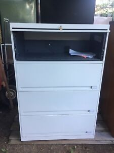 Steel filing cabinet with key