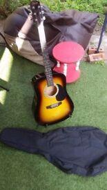 Fender squier SA-105 w/ Fender Sunburst Serial CFS1471188 + Soft Case and fender stand