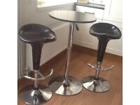 Adjustable height Table and 2 Bar stools