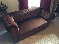 Victorian Drop Arm/Side Chesterfield Sofa - Heavy Mahogany Frame