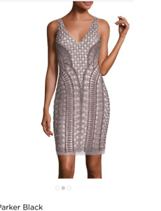 NWT Size 2 Parker Black Beaded Cocktail Dress