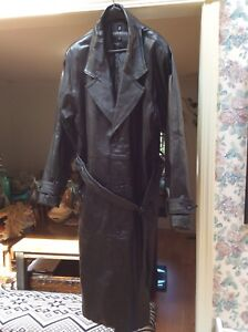 100% leather full length trench coat. $250.00