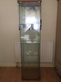 Glass units 5ft in height with wooden base & top