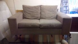 Brown fabric two seater sofa £60 Good clean condition CHEAP local DELIVERY Stalybridge SK15 2PT