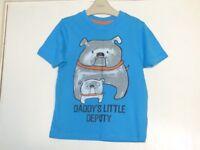 Boys GEORGE Blue Daddy's Little Deputy T-shirt Age 3-4 Years
